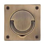Baldwin 0397.SWL 3-1/2 Inch x 3-1/2 Inch Flush Ring Pull with Swivel Spindle