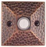 Emtek 2452 Brass Doorbell Button with Hammered Rosette